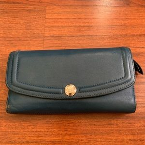 Coach blue leather wallet